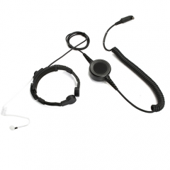 Throat microphone headset with big round PTT